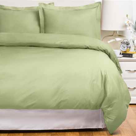 Blue Ridge Home Fashions Cotton Duvet Cover Set - King, 230 Thread Count in Sage - Closeouts