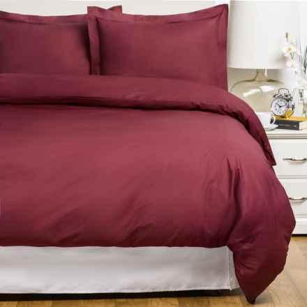 Blue Ridge Home Fashions Cotton Duvet Set - King, 230 TC in Burgundy - Closeouts