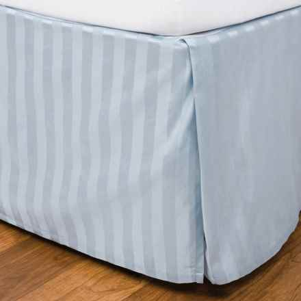 Blue Ridge Home Fashions Damask Stripe Bed Skirt - King, 500 TC Egyptian Cotton in Light Blue - Closeouts