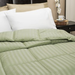 Blue Ridge Home Fashions Damask Stripe Down Alternative Comforter - 350 TC Cotton, Twin in Sage