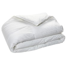 Blue Ridge Home Fashions Damask Stripe Siberian Down Comforter - King, 500 TC in White - Overstock