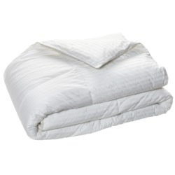 Blue Ridge Home Fashions Damask Stripe Siberian Down Comforter - King, 500 TC in White