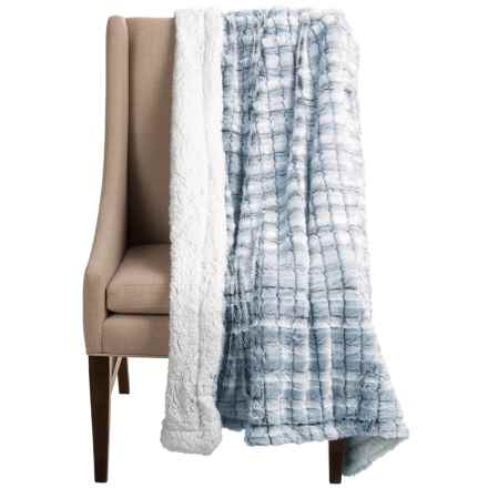 "Blue Ridge Home Fashions Elle Home Sherpa Throw Blanket - 50x60"" in Navy - Closeouts"