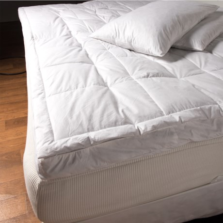 "Blue Ridge Home Fashions Fiber Top Featherbed with Pillow - Queen, 3"" Gusset in White"