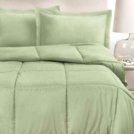 Blue Ridge Home Fashions Microfiber Comforter and Pillow Set - Full-Queen, 5-Piece, Down Alternative in Sage - Closeouts
