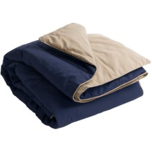 Blue Ridge Home Fashions Microfiber Down Alternative Throw Blanket - Reversible in Navy/Khaki - Closeouts