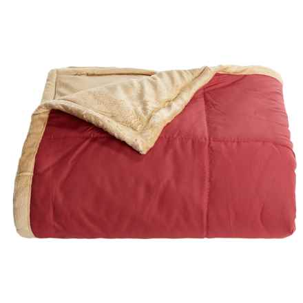 "Blue Ridge Home Fashions Microfiber Plush Throw Blanket - 50x60"" in Red/Khaki - Overstock"