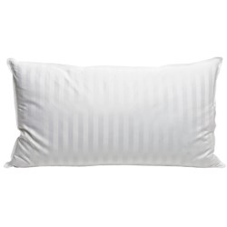 Blue Ridge Home Fashions Siberian White Down Pillow - King, 500 TC Damask Stripe in White