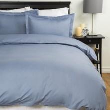 Blue Ridge Home Fashions Solid Duvet Set - Full-Queen, 300 TC Cotton in Smoke Blue - Closeouts