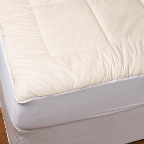 Blue Ridge Home Fashions Unbleached Cotton Mattress Pad - King, 233 TC in White