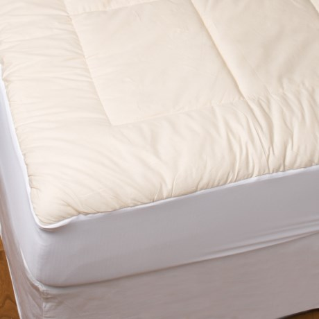 Blue Ridge Home Fashions Unbleached Cotton Mattress Pad - Queen, 233 TC in White