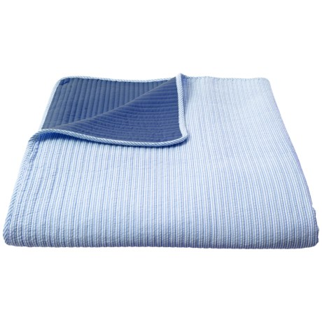 Image of Blue Seersucker Striped Quilt - Queen