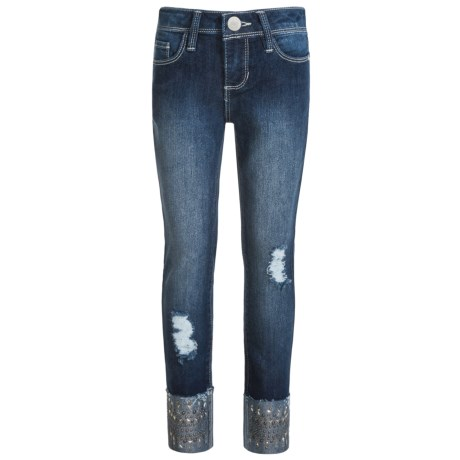 Blue Spice Distressed Studded-Cuff Jeans (For Big Girls) in Dark Stone