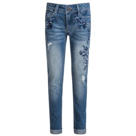 Blue Spice Floral Embroidered Jeans - Skinny Leg (For Big Girls) in Aranda Wash