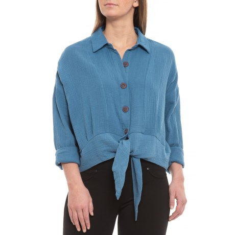 Image of Blue Sunstreaks Tie-Front Shirt - Long Sleeve (For Women)