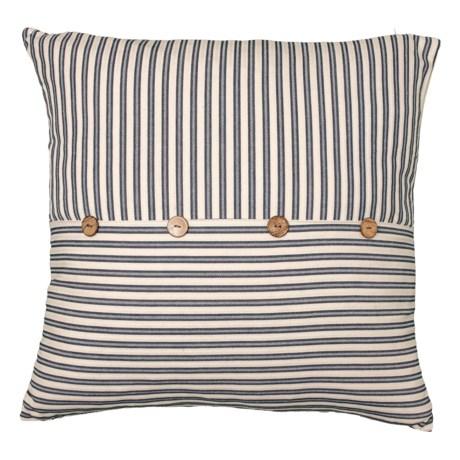 Image of Blue Ticking Stripe Stellar Button Throw Pillow - 22x22? Feathers