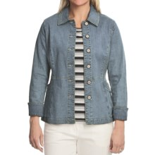 Blue Willi's Button-Front Denim Jacket - Stretch Cotton (For Women) in Sky Blue - Closeouts