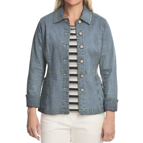 Blue Willi's Button-Front Denim Jacket - Stretch Cotton (For Women) in Sky Blue