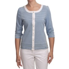 Blue Willi's Novelty Cardigan Sweater - 3/4 Sleeve (For Women) in Ice Blue - Closeouts