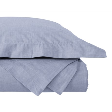 Image of Blue Yarn-Dyed Chambray Duvet Set - Full-Queen, 200 TC