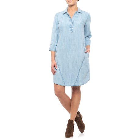 Image of Bluewash Nikki Dress - 3/4 Sleeve (For Women)