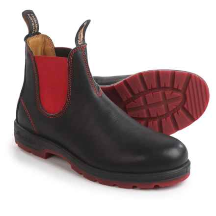 Blundstone 1316 Pull-On Boots - Leather, Factory 2nds (For Men and Women) in Black/Red - 2nds