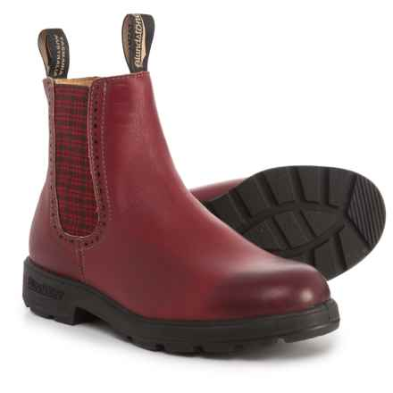 Blundstone Brogue Chelsea Boots - Leather, Factory 2nds (For Women) in Burgundy/Red Tartan - Closeouts