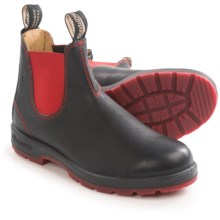 Blundstone Oiled Nubuck Pull-On Boots - Factory 2nds (For Men and Women) in Black/Red - 2nds