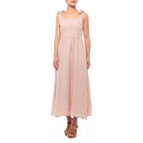 Image of Blush Italian Shoulder Tie Midi Dress - Sleeveless (For Women)