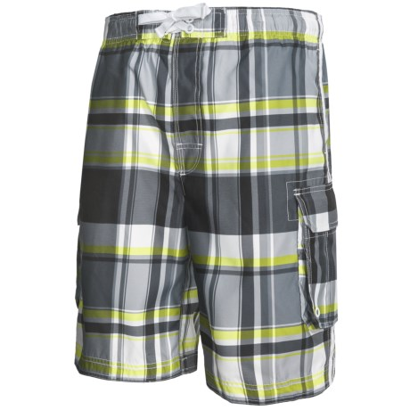 Board Shorts with Built-In Briefs - UPF 50+ (For Men) in Black/Grey/Yellow Plaid