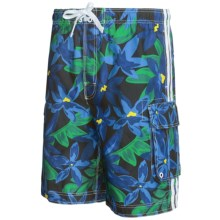 Board Shorts with Built-In Briefs - UPF 50+ (For Men) in Blue/Green Floral - 2nds