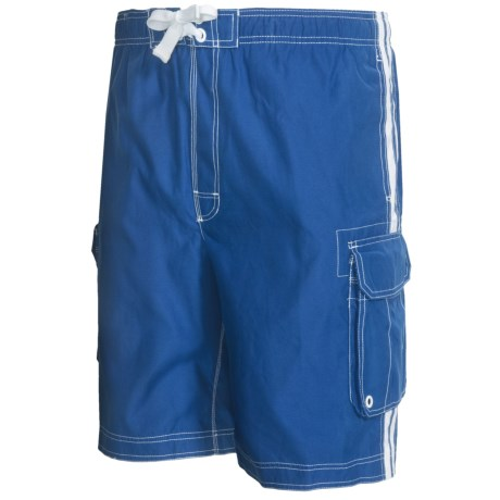 Board Shorts with Built-In Briefs - UPF 50+ (For Men) in Blue W/White Stripe