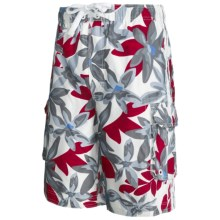 Board Shorts with Built-In Briefs - UPF 50+ (For Men) in Grey/Red Floral - 2nds