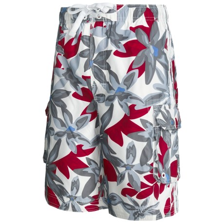 Board Shorts with Built-In Briefs - UPF 50+ (For Men) in Grey/Red Floral