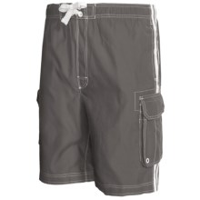Board Shorts with Built-In Briefs - UPF 50+ (For Men) in Grey W/White Stripe - 2nds