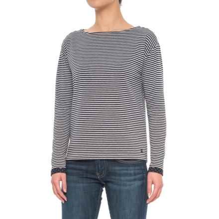 Boat Neck Shirt - Long Sleeve (For Women) in Navy Stripe - 2nds