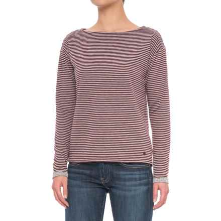 Boat Neck Shirt - Long Sleeve (For Women) in Red Stripe - 2nds