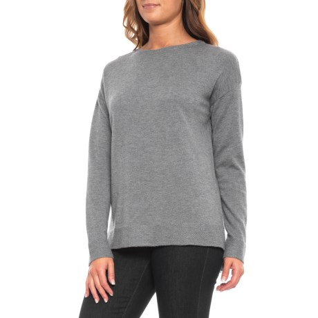 Image of Boat Neck Solid Pullover Shirt - Merino Wool, Long Sleeve (For Women)