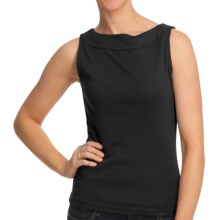 Boat Neck Tank Top - Cotton (For Women) in Black - 2nds