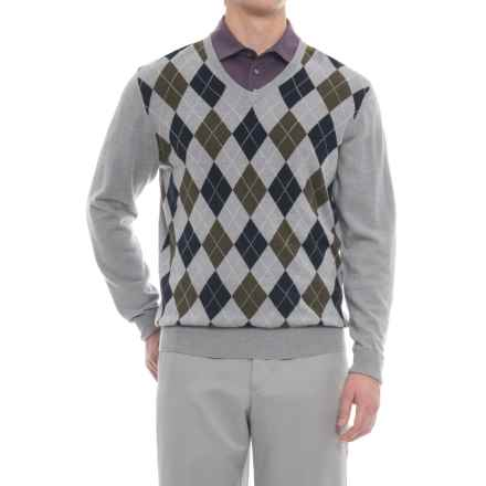 Bobby Jones Heritage Argyle V-Neck Golf Sweater - Merino Wool (For Men) in Heather Grey - Closeouts
