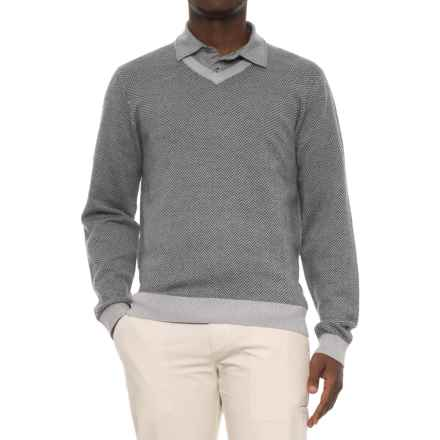 Bobby Jones Herringbone V-Neck Golf Sweater - Merino Wool (For Men) in Heather Grey - Closeouts
