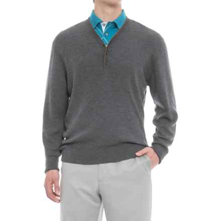 Bobby Jones Knowles Y-Neck Sweater - Merino Wool (For Men) in Charcoal - Closeouts