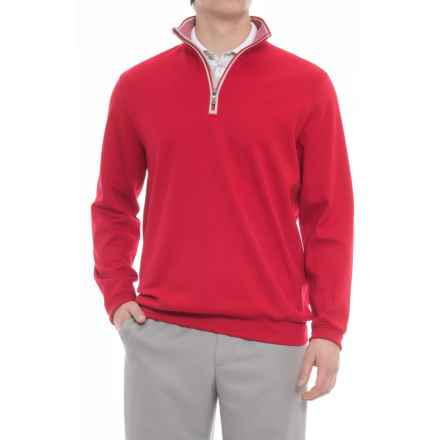 Bobby Jones Leaderboard Pullover Shirt - Zip Neck, Long Sleeve (For Men) in Cambrdg Red - Closeouts