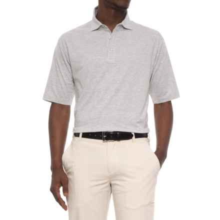 Bobby Jones Riverside Heather Stripe Polo Shirt - Short Sleeve (For Men) in Light Grey/White - Closeouts