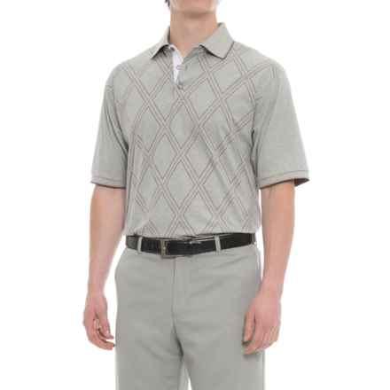 Bobby Jones Roosevelt Printed Raker Polo Shirt - Short Sleeve (For Men) in Heather Grey - Closeouts