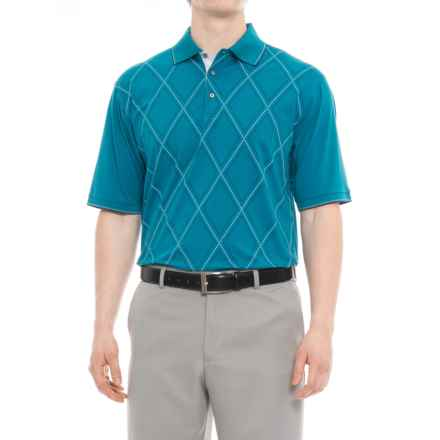 Bobby Jones Roosevelt Printed Raker Polo Shirt - Short Sleeve (For Men) in Santorini - Closeouts