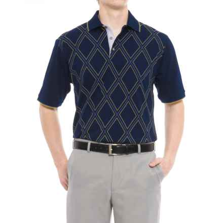 Bobby Jones Roosevelt Printed Raker Polo Shirt - Short Sleeve (For Men) in Summer Navy - Closeouts