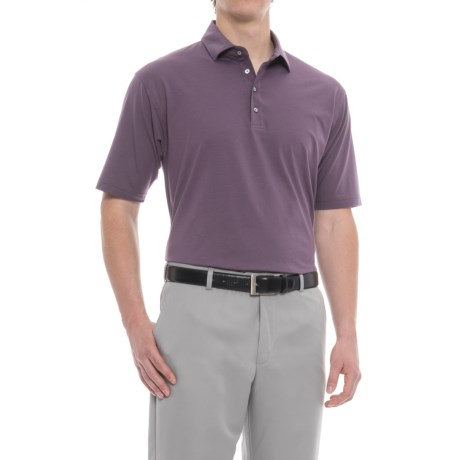 Bobby Jones Solid Liquid Cotton Golf Polo Shirt - Short Sleeve (For Men) in Blackberry