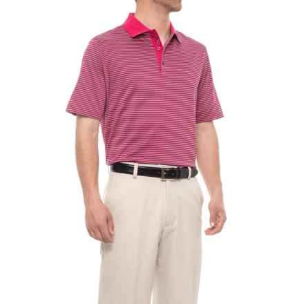 Bobby Jones XH20 Staten Micro Grid Jacquard Golf Polo Shirt - Short Sleeve (For Men) in Pompei Pink - Closeouts