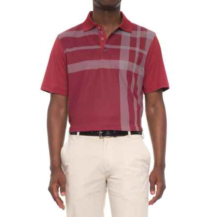 Bobby Jones XH2O Robertson Printed Plaid Golf Polo Shirt - Short Sleeve (For Men) in Brick Red - Closeouts